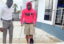 Davido on crutches