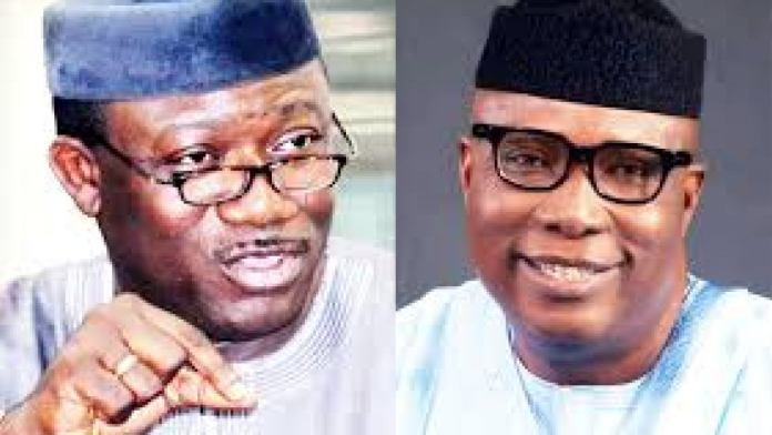 Collage photo of governor Fayemi and Ojudu