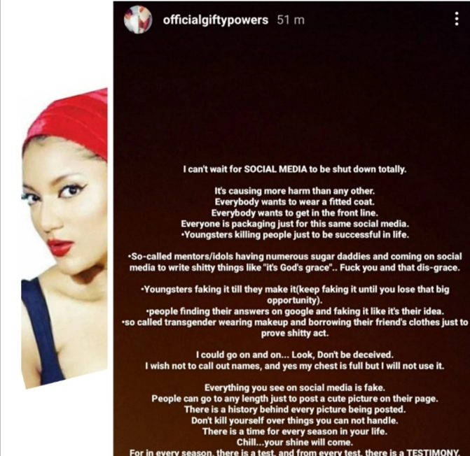 """""""I Can't Wait To See Social Media Shut Down Completely"""" – BBNaija's Gifty"""