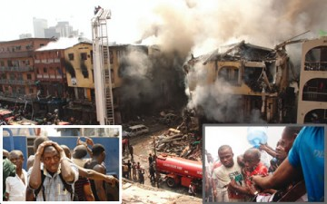 SCENE OF THE FIRE CRACKER EXPLOSION ON 45 OJO GIWA STREET IN JANKARA MARKET, ISALE EKO AREA OF LAGOS STATE.