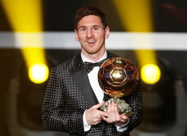 Lionel Messi With the Ballon d'Or in 2012.