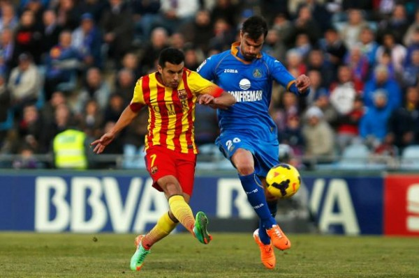 Pedro Scored a Hat-Trick and Provided Fabregas' First Goal in Barca's 5-2 Win at Getafe in December 2013.