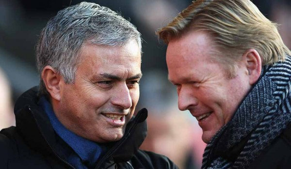 Jose Murinho and Ronald Koeman Reunited at St. Mary's Stadium after their Spell Under Louis van Gaal at FC Barcelona. Image: Getty.