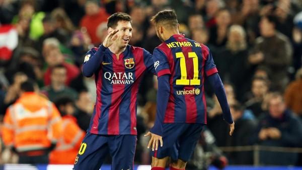 Lionel Messi and Neymar Celebrates Barca Goal at the Camp Nou. Image: Miguel Ruiz/ FC Barca.