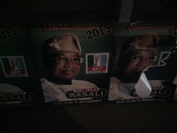 campaign posters on third mainland bridge. picture taken on Nov 30, 2014