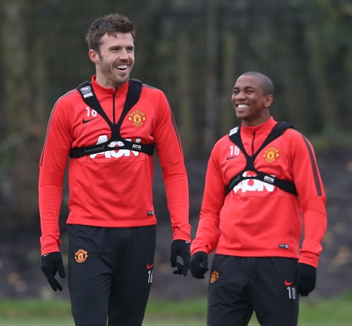 Michael Carrick Out, Ashley Young In, Says Louis van Gaal. Image: MUFC via Getty.