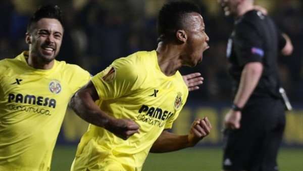 Ikechukwu Uche Celebrates After Scoring the Opening Goal in an Europa League Last 32 First Leg Tie Between Hosts Villarreal and FC Salzburg. Image: AFP/Getty.