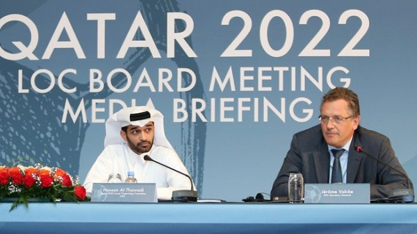 Jerome Valcke (right) and Qatar 2022 LOC Chief Hassan Al-Thawadi Addressing a Press Conference in Doha, Qatar. Image: AFP.