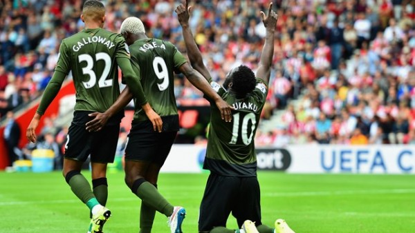 Romelu Lukaku Celebrates Scoring against Sputhampton at the St. Mary's Stadium. Image: Getty.