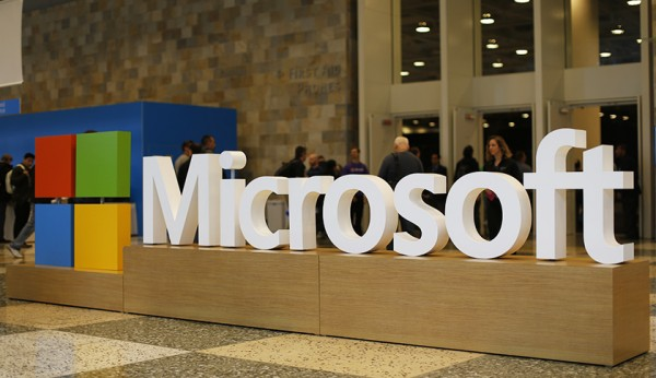 SAN FRANCISCO, CA - APRIL 29: A Microsoft logo is seen during the 2015 Microsoft Build Conference on April 29, 2015 at Moscone Center in San Francisco, California. Thousands are expected to attend the annual developer conference which runs through May 1. (Photo by Stephen Lam/Getty Images)