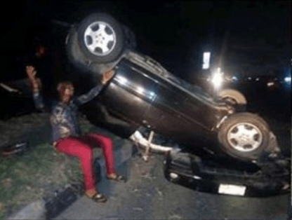 [Photo]: MC Shakara involved in ghastly car accident