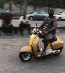 Pual Okoye spotted riding a scooter