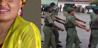 Collage photo of Aisha Buhari and female military