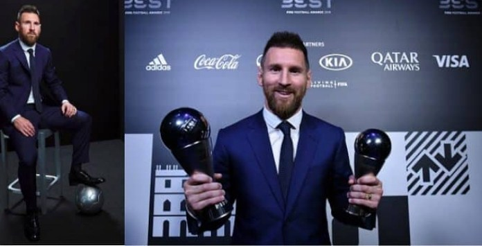 Lionel Messi with the 6th Ballon D'or