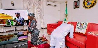 Photo of Babajide Sanwo-olu and wife worshipping at home