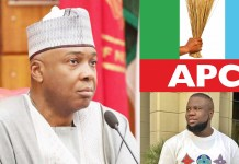 Saraki, Hushpuppi and APC flag