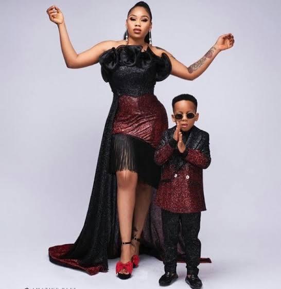 Toyin Lawani and her son