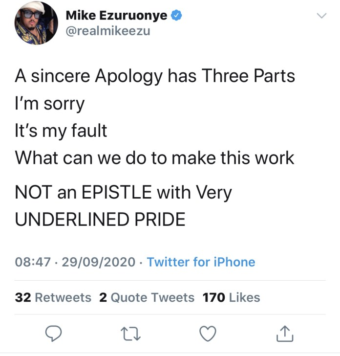 Ezuruonye's tweet