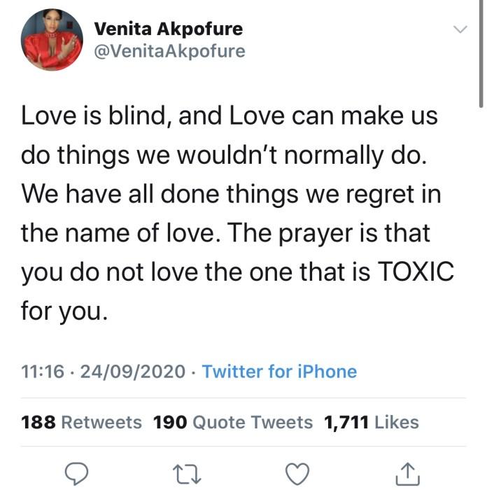 Venita's tweet
