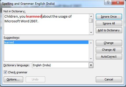 Editing Text in Microsoft Word 2007 Spellings and Grammar234