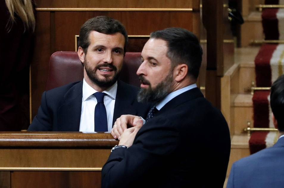 Pablo Casado y Santiago Abascal en el Congreso/Img ag. archivo