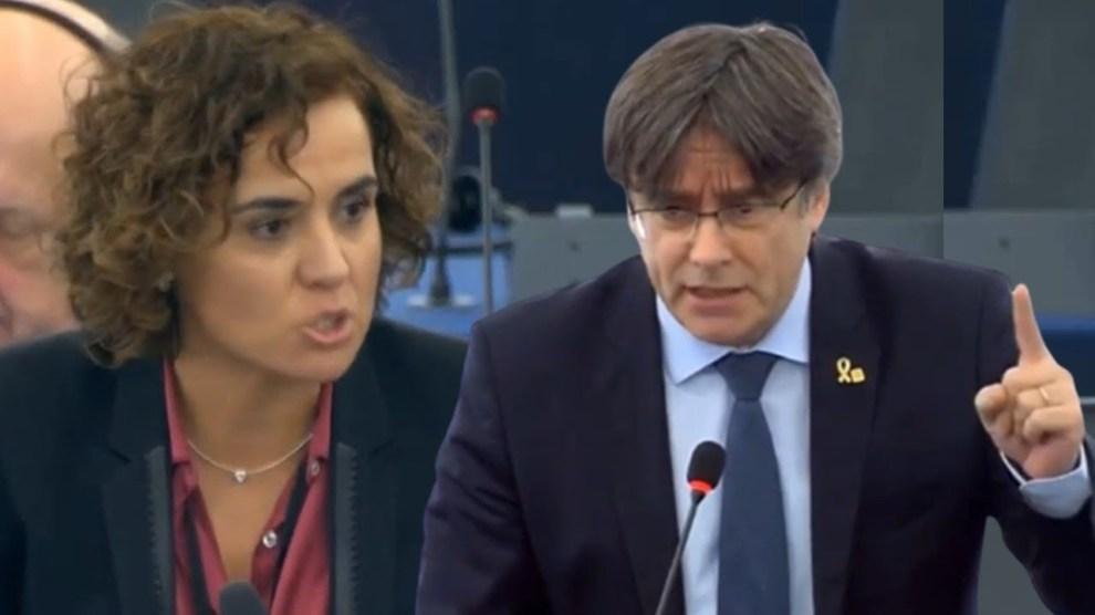 """Primer choque de Puigdemont con Dolors Montserrat: """"usted es un prófugo""""/Img. twitter"""