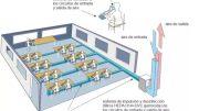 Ilustración del sistema colectivo e individual de suministro y evacuación de aire desinfectado en un aula para 16 estudiantes. - UA