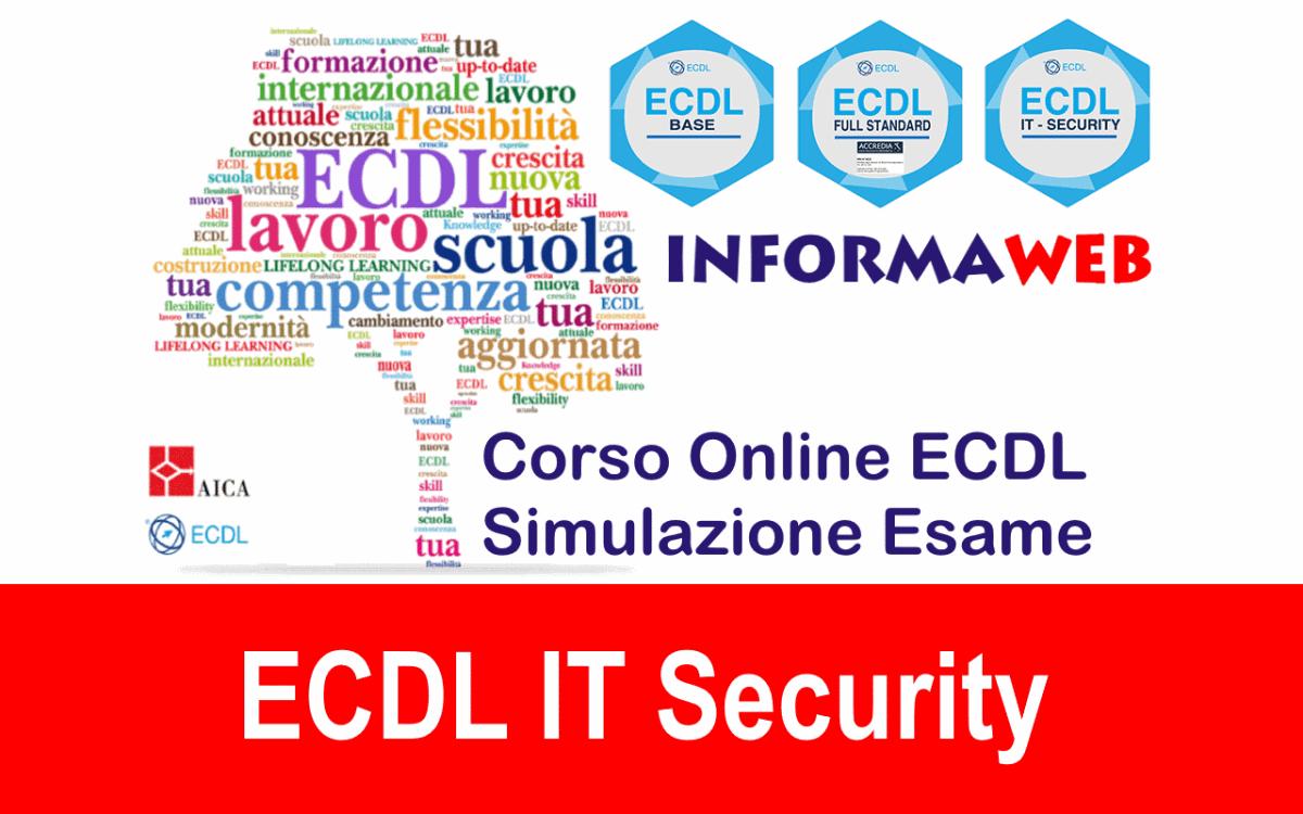 Simulazioni Esami Modulo 5 Nuova ECDL IT Security Livello Specialised AICA massimo punteggio concorsi Test Quiz Gratis