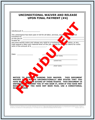Fraudulent Lien Waiver Release Forms