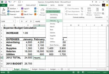 Working with Range Names in Formulas | Building Basic Formulas in ...