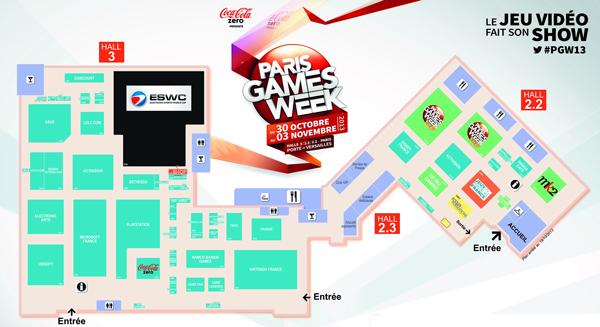 Paris Games Week 2013 : Le Plan du salon recadré