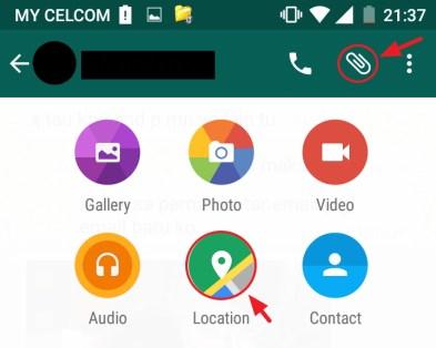 Kongsi Lokasi dalam WhatsApp