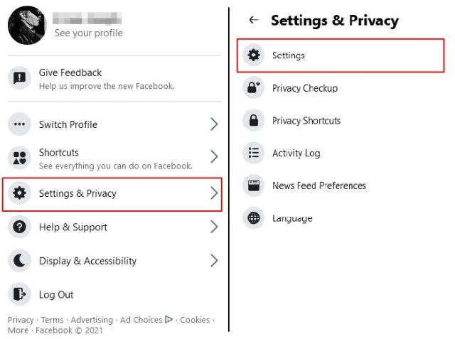 menu setting n privacy facebook web