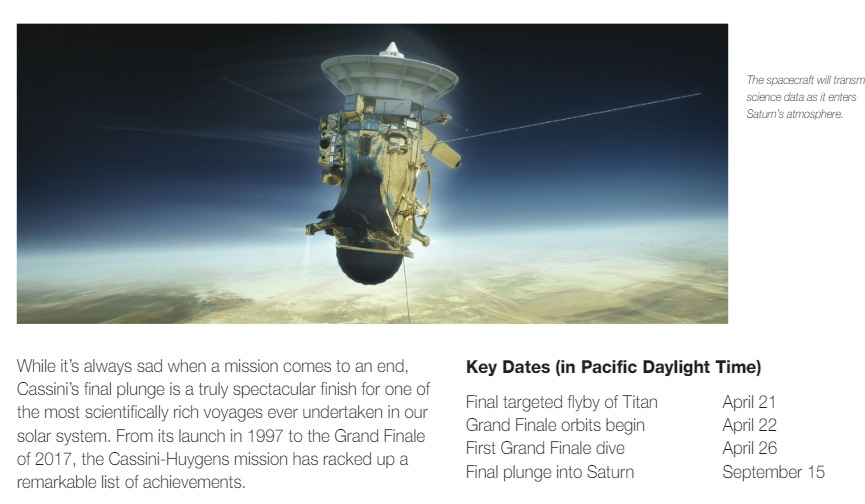 PDF. Cassini's Grand Finale - NASA Facts. Marzo 2017