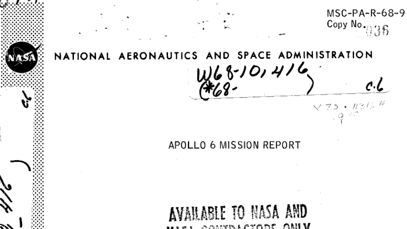 PDF. Apollo 6 Mission Report