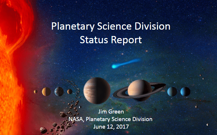PDF. Planetary Science Division Status Report. Junio 2017
