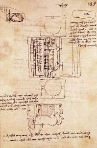 Leonardo da Vinci. Manuscript page on the Sforza monument. 1493. Lápiz y tinta sobre papel. Imagen tomada de ForoXerbar.com