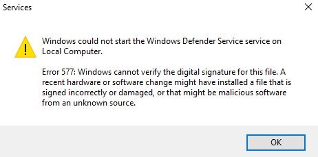 Error 577 - Como corrigir o erro 577 do Windows Defender no Windows 10.