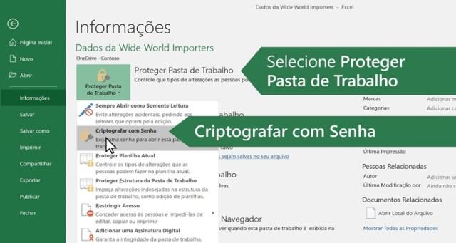 Tela do Excel - Criptografar com senha