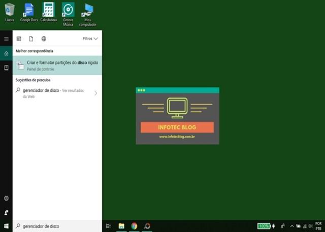 Pesquisa Gerenciar disco no Windows 10