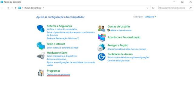 Desinstalar programas no Windows