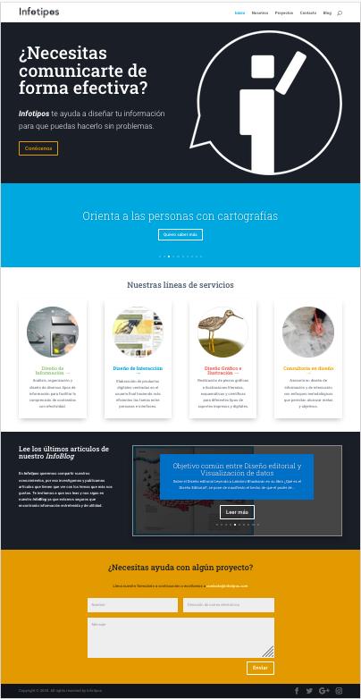 Landing page de la nueva página web de Infotipos.