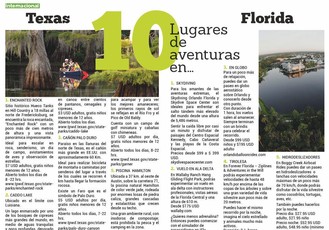 10 Lugares  de  aventuras  en: Texas y Florida