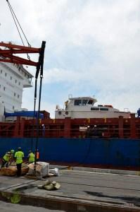 Estibadores trabajando en el puerto