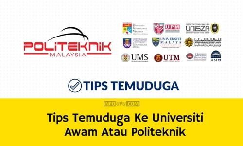 Tips Temuduga Ke Universiti Awam Atau Politeknik