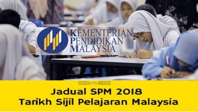 jadual waktu tarikh peperiksaan sijil pelajaran malaysia 2018