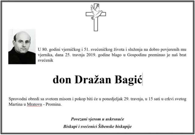 Preminuo svećenik Šibenske biskupije don Dražan Bagić: Dugi niz godina u svećeničkoj službi djelovao je i služio u župama Vodičkog dekanata