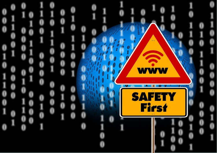 Color photo of a road sign with inscription: www and below Safety first - used to illustrate that people should think how to safely use the Internet
