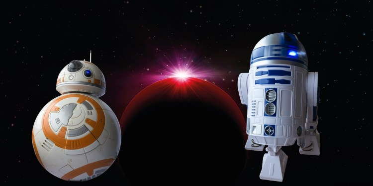 Photo of BB8 and R2D2 droids in space