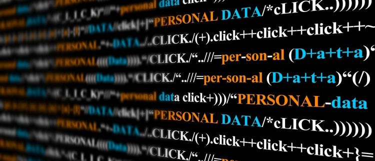 Color photo of inscription ''personal data'' on screen, used to illustrate the priority of personal data for companies.